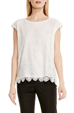 7d0389b67f2f22 Vince Camuto Cap Sleeve Embroidered Lace Blouse (Regular & Petite)  available at #