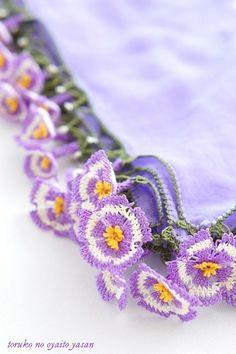 Hana-zuke eşarp Au Gidiş Mishu Semte muhteşem Ineoya Ulaşın Crochet Trim, Bead Crochet, Crochet Earrings, Beginner Crochet Projects, Crochet For Beginners, Crochet Borders, Crochet Stitches, Crochet Accessories, Handmade Accessories