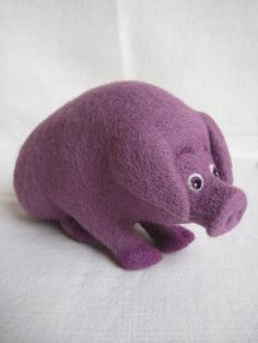 Don't eat me Pig in purple  needle felted soft by Feltedcreatures, $62.00