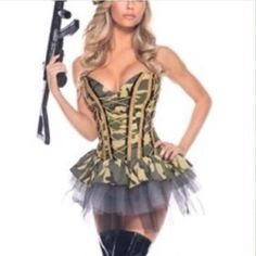 Halloween Must Have Army Print Strapless Dress Moda cb691bbbae9a