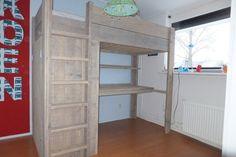 """Steigerhouten hoogslaper met kast en bureau """"Koen"""" -jl-meubelmaatwerk"""
