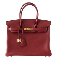 HERMES BIRKIN 30 bag ROUGE H gold hardware Togo leather | From a collection of rare vintage top handle bags at mightychic.com SOLD