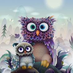 ❤ Owls-Zutto | Flickr - by Gemini Rising - I like this picture because the mama owl has the same expression I do when I'm trying to come up with an answer to a question my son has asked! lol