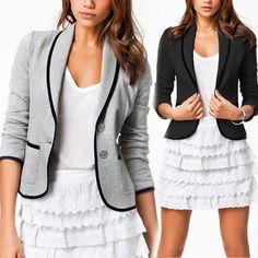 0da34c101b0 Plus Size Women s OL Work Office Lady Long Sleeve Casual Blazer Suit Jacket  Coat
