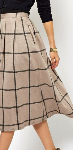 ASOS Full Midi Skirt in Squared Check Print ~ Camel/Black ~ $41.10