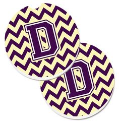 Letter D Chevron Purple and Gold Set of 2 Cup Holder Car Coasters CJ1058-DCARC