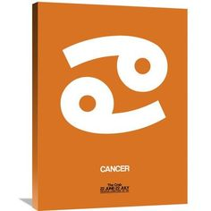 Naxart 'Cancer Zodiac Sign' Painting Print on Wrapped Canvas in White and Orange Size: