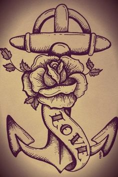 Anchor, rose tattoo-- just like the skull ..can incorperate other thingz with smaller rose?