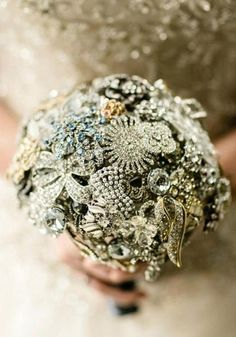 collection of vintage jewelry becomes the most beautiful bridal bouquet