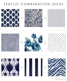 Textile, pattern and print combinations: florals, stripes, ikat, floral, geometric, herringbone, dots, animal prints ...
