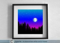 Printable blue night winter landscape. Full moon over the forest. large Wall Art. 50x50 cm Printable Landscape. Best gift. Instant Download