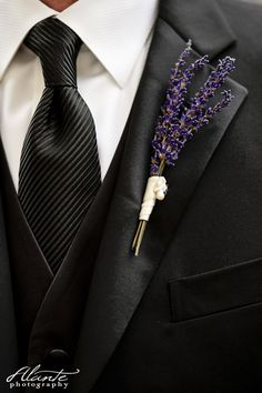 Lavender boutonniere - a little aromatherapy for your wedding day. For more inspiration, follow us on Twitter - https://twitter.com/BridalMentor.