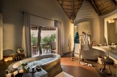 Heavenly to say the least. This gorgeous #Master #Bathroom can be found at Madikwe Game Reserve. Our personal favourite.  #Extravagance #Opulence #Luxury