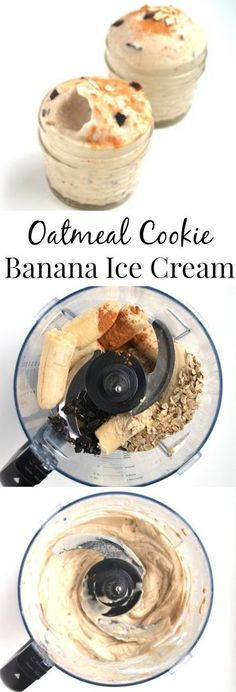 healthy ice cream Oatmeal Cookie Banana Ice Cream is ready in just 5 minutes and tastes like dessert but has no-added sugar and is rich in fiber and protein. Desserts Rafraîchissants, Desserts Sains, Frozen Desserts, Frozen Treats, Dessert Recipes, Baking Recipes, 5 Minute Desserts, Frozen Banana Recipes, No Sugar Desserts