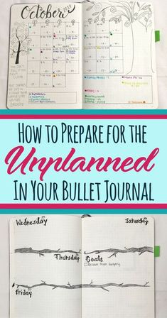 Everybody experiences unplanned moments in their lives, so no sense in worrying about them! This article provides ideas and tips to help you overcome obstacles in your bullet journal or planner. Make a little organization and make your life less stressful Bullet Journal How To Start A, Bullet Journal Spread, Bullet Journal Ideas Pages, Bullet Journal Layout, Bullet Journal Inspiration, Bullet Journals, Journal Prompts, Journal Notebook, Art Journals