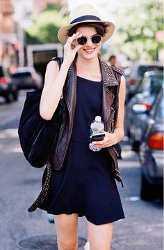 Try wearing a smaller hat like this with a dress and then layer a vest on top for a comfortable, cool look. // #Fashion