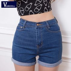 Casual 2016 New Korean Style Summer Vintage High Waisted Denim Women Shorts Plus Size Slim Stretch on http://ali.pub/bf7hy