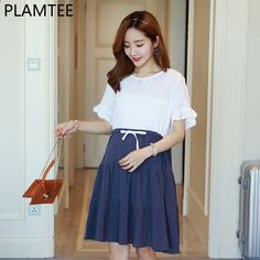 bc71a01f5 PLAMTEE manga corta de algodón y lino de costura para el vestido de maternidad  Vestido informal