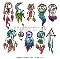 Set of 10 colored dreamcatchers. Hand drawn with ink dream catcher with feathers. Ethnic illustration, tribal, American Indians traditional symbol. Tribal theme. - stock vector