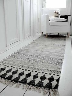 HOUSE DOCTOR - BLOCK BLACK GREY COTTON RUG