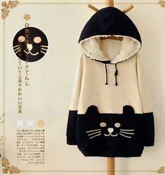 Japanese Kawaii Katze Damen Kapuzen Pullover Kapuze SweatShirt Hoodie Jacke Top in Kleidung & Accessoires, Damenmode, Kapuzenpullover & Sweats   eBay