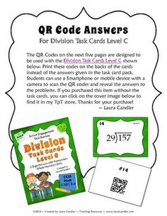 QR Codes for Division Level C Task Cards - New item - 50% off for the first 24 hours