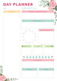 Day Planner with Blossom Roses Pattern Printable Day Planner, To Do Lists Printable, Free Planner, Weekly Planner, Free Printables, Free Daily Planner Printables, Day Planner Template, Daily Printable, College Planner