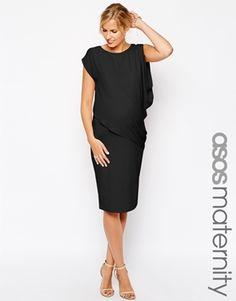 ASOS+Maternity+Bodycon+Dress+With+Drape+Overlay