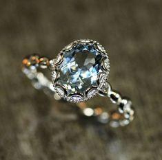 Floral Aquamarine Engagement Ring in 14k White Gold Pebble Diamond Wedding Band 9x7mm Oval Aquamarine Ring (Bridal Wedding Set Available)