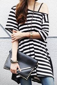 Love this Casual Look! Really Love the Black Bag! Black and White Stylish Scoop Neck Short Sleeves Striped Long T-Shirt