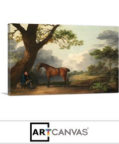 Ready-to-hang The Third Duke of Dorset's Hunter with a Groom and a Dog 1768 Canvas Art Print for Sale canvas art print for sale. Free hanging accessories and insurance.