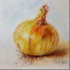"Daily Paintworks - ""Fresh Onion. Oil on canvas pan..."" by Nina R. Aide"