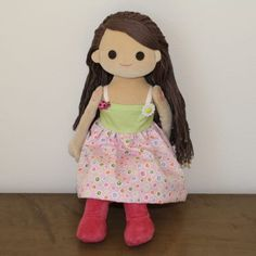 """Dressable doll """"anika"""" in her pink and green spring dress.   http://www.anikaclub.com"""