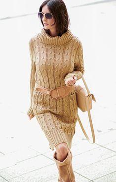 Numinou Sweterkowa sukienka z golfem karmelowa S68 Golf, Model, Sweaters, Dresses, Fashion, Mathematical Model, Gowns, Moda, Sweater