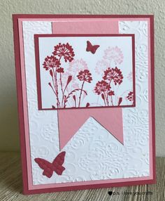 This handmade card using the Serene Silhouettes stamp set from Stampin' Up is easy to make, but also beautiful! It also uses the Cuttlebug, and a few other supplies.