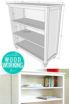 DIY Bookshelf Woodworking Plan with Adjustable Shelves via shop.remodelaholic.com #bookshelves #buildabookcase #bookcases Bookcase Plans, Wood Bookshelves, Bookshelf Diy, Diy Kids Furniture, Farmhouse Furniture, Painted Furniture, Bedroom Furniture, Diy Built In Shelves, Wooden Shelves