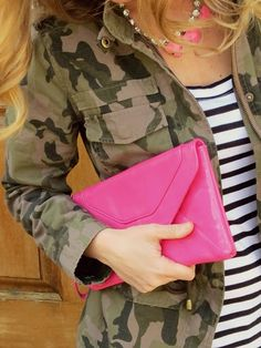 Pattern Mixing: Camouflage jacket, stripes and pops of neon pink