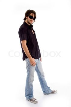 Stock image of 'standing pose of stylish male with white background'