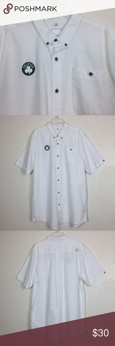 "Addias Boston Celtics Logo Mens 2XL Short Sleeve Addias Celtics Logo Mens 2XL Short Sleeve Button Front Short Sleeve White Gently used  -  Pit to pit  26""   -  Length  35""  -  100% Cotton -  Machine wash Boston Celtics Basketball Addidas Shirts Casual Button Down Shirts"