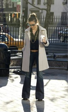 trench / flared denim / button-down / long necklace