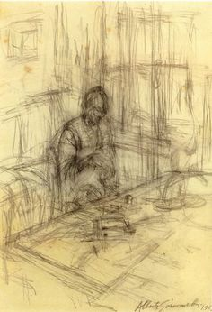 The artist's mother 1951 Alberto Giacometti. i like this as a sketch better than i would as a finished painting, i think. great lines, fabulous simplicity.