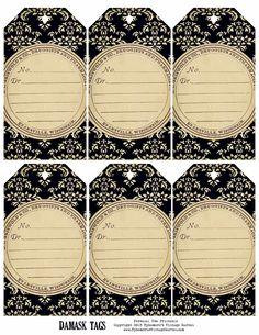 Ephemera's Vintage Garden: Weekly Free Printable – Damask Tags Vintage Tags, Vintage Labels, Vintage Ephemera, Vintage Prints, Logo Vintage, Vintage Black, Vintage Style, Printable Labels, Printable Paper