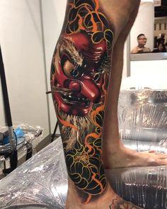 Japanese Mask tattoo by Ben Kaye Tengu Tattoo, Samurai Maske Tattoo, Hanya Tattoo, Irezumi Tattoos, Leg Tattoos, Body Art Tattoos, Cool Tattoos, Tebori Tattoo, Best 3d Tattoos