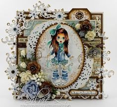 Created-By-Silvie-Z.: Saturated Canary ~ SUPPLIES: Stamps: Saturated Canary - Nikki, sentiments - Whimsy, Stempleglede - Vintage Garden (swirls) Copics:  B99, 97, 95, 93, 91; BG13, 11, 10, 00; C5, 3, 1, 00; E43, 41, 40; hair: E49, 29, 25, 53, 51 Paper: Bo Bunny - Midnight Frost paper pad Tools: Spellbinders Ovals, Cheery Lynn doily die, Whimsy Snowflake border,  Embellies: flowers WOC,  white and cream berries, charm from my stash, Stickles, ribbon, rhinestones, pearl marker