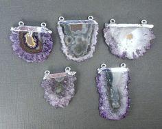 Amethyst Stalactite Slice Druzy Crystal Double by jewelersparadise