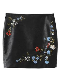 SHARE & Get it FREE | Faux Leather Floral Embroidered Skirt - BlackFor Fashion Lovers only:80,000+ Items • New Arrivals Daily Join Zaful: Get YOUR $50 NOW!