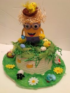 Easter Bonnet — Minions  (1500x2000) Minions, Easter, Cake, Desserts, Food, Tailgate Desserts, Deserts, The Minions, Easter Activities
