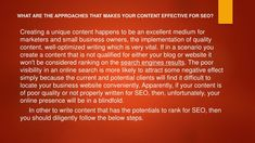 what are the approaches that makes your content n.