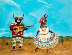 Print, Bull, torro, donkey, burra, Mexico, desert, Mexican folk dance, guitar, animal art