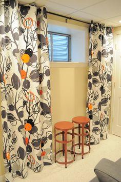 grommet curtains for my living room Basement Window Curtains, Basement Window Treatments, Floor To Ceiling Curtains, Basement Windows, No Sew Curtains, How To Make Curtains, Rod Pocket Curtains, Grommet Curtains, Long Curtains
